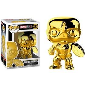 Funko Pop Captain America Gold Chrome #377 - Capitão América Dourado 10 Years Edition - Marvel