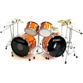 Réplica Bateria Miniatura Lars Ulrich Orange Tama Mini Drum Set Metallica Axe Heaven