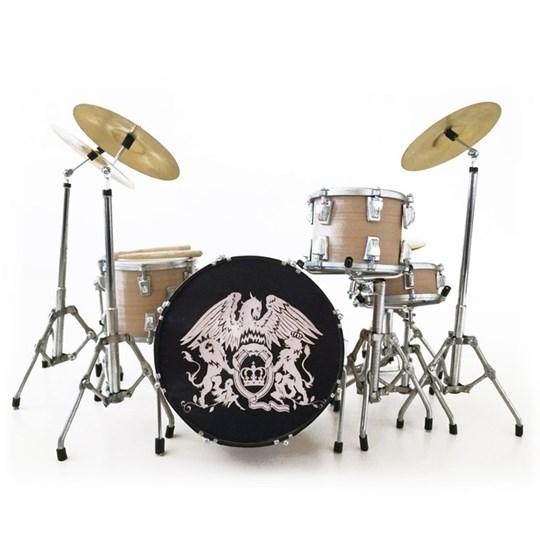 Réplica Bateria Miniatura Roger Taylor Queen Crest Tribute Mini Drum Set Axe Heaven