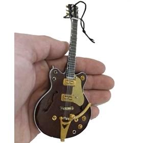 Réplica Guitarra Miniatura George Harrison Gretsch Country Gentleman Rosewood Hollow Body The Beatle