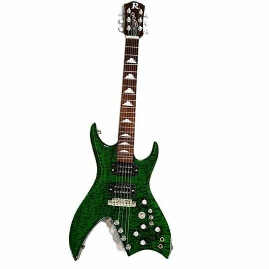 Réplica Guitarra Miniatura Slash Green B.C. Rich Bich Guns N Roses Axe Heaven